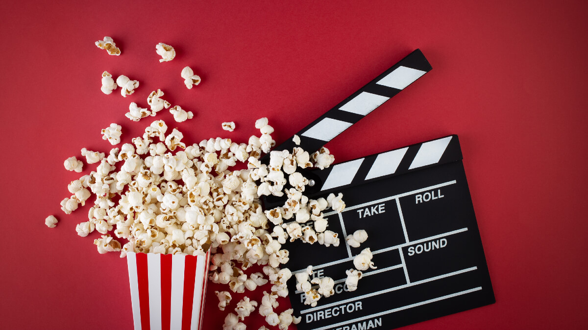 Popcorn and clapper board